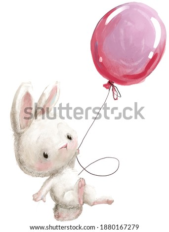 cute little cartoon hare fly with balloon