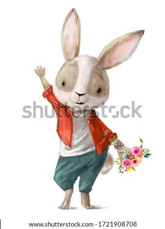 cute little cartoon hare with flower wreath