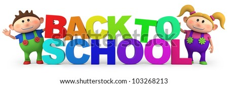 cute little cartoon kids with back to school letters  - high quality 3d illustration