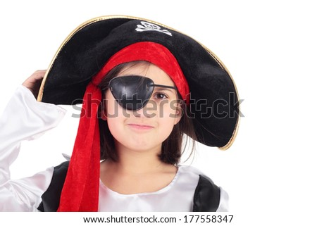 cute little child in the costume of the pirate