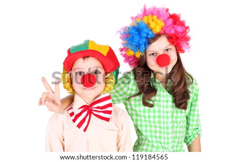 cute little children dressed as the clowns