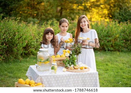 Cute little children selling lemonade in park. Homemade lemonade sale concept. Lemons, mint, cocktail cans in boxes for lemonade close-up. Homemade lemonade in dispenser and copy space.