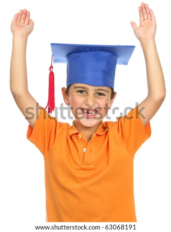 Cute little eight year old- graduation cap - happy expression on white - stock photo