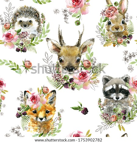 cute little forest animals seamless pattern. watercolor wild nature illustration. animal print. Racoon. Fox. Bunny. Deer. Hadgehog.