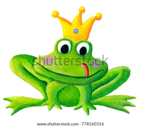 Cute little frog prince with a golden crown on its head acrylic illustration