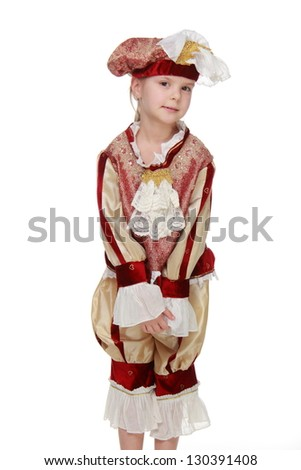 Cute little girl as a musketeer on white background