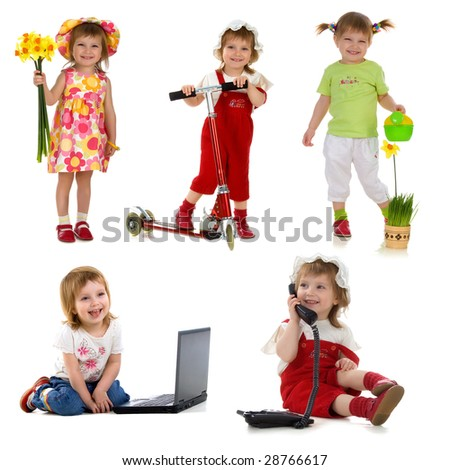 Cute little girl. Collection of photos isolated on white background