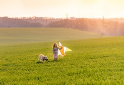 Cute little girl flying kite with beautiful dog on sunny field