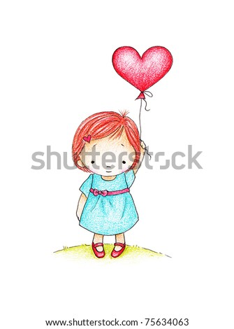 cute little girl holding a red heart -  Valentine illustration