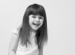 Cute little girl i smiling portrait black and white