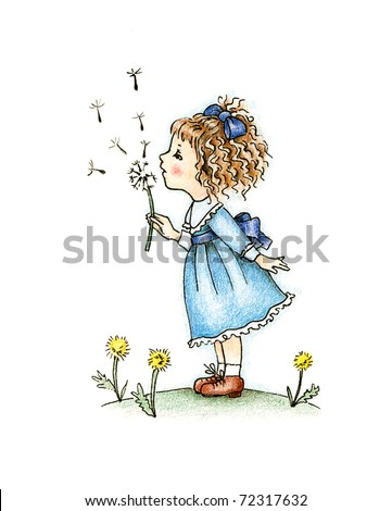 cute little girl in blue dress with dandelion on white background