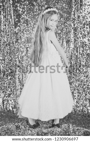 cute little girl in fashionable dress. portrait of a kid child in dress. shopping. girl. fashion. #1230906697