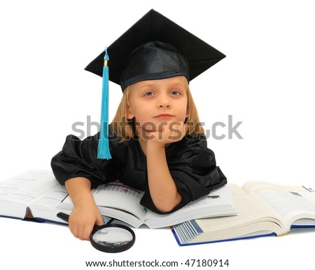 Cute little girl in graduation dress is raving about future