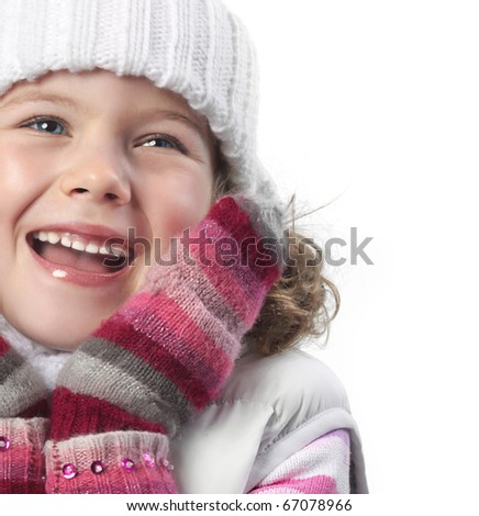cute little girl in warm clothes on white background - stock photo