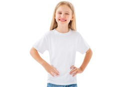 Cute little girl in white t-shirt, blamk for your design isolated on a white background