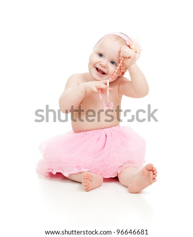 cute little girl, isolated on white - stock photo