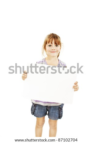 Cute little girl isolated on white background holding sign