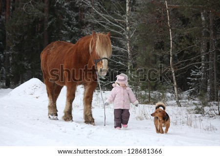 Cute little girl leading big draught horse and small dog by the forest in winter