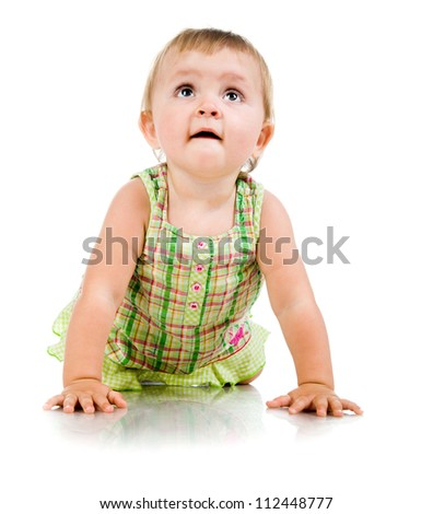 Cute little girl looking up on a white background