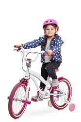 Cute little girl on a bike isolated on white background