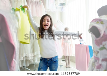 089a7b983 Free photos Cute little girl on shopping. portrait of a kid with ...