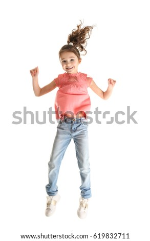 Cute little girl on white background #619832711