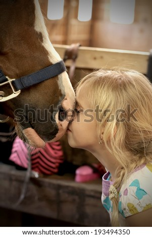 Cute little girl petting the horse
