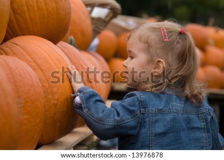 Cute little girl picking halloween pumpkin at farmer\'s market