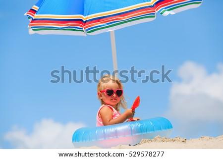 cute little girl play at summer ...