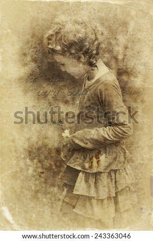 cute little girl playing in the garden. filtered image, old style photo