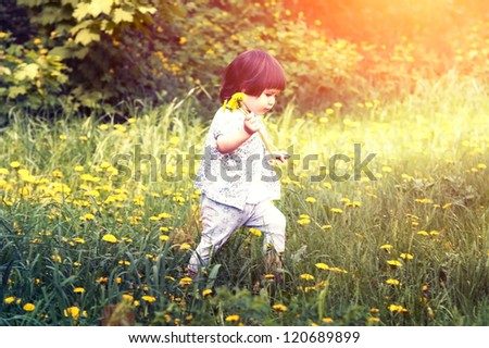 Cute little girl  playing with a dandelion - stock photo