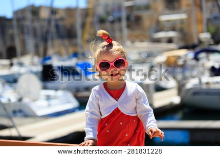cute little girl portrait in the port, kids travel #281831228