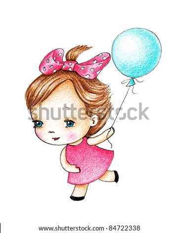 cute little girl running with blue balloon on white background