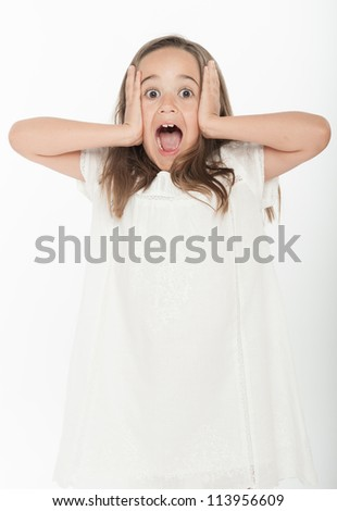 Cute little girl shouting with fear