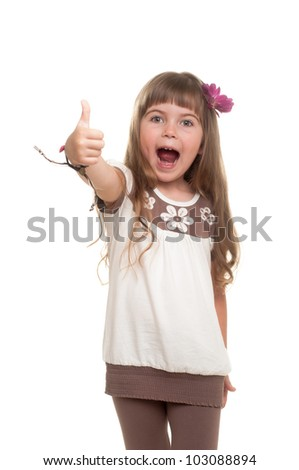cute little girl showing ok sign against white background