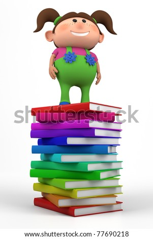 cute little girl standing on top of a stack of books - high quality 3d illustration