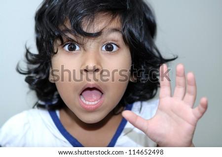 cute little girl surprised