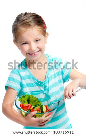 cute little girl with a plate of salad, isolayed on white