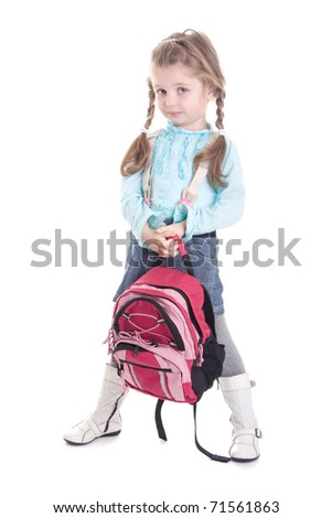Cute little girl with backpack, isolated on white background
