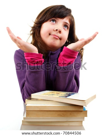 Cute little girl with big book, explaining something, isolated over white