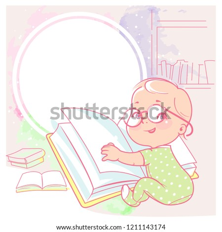 cute little girl  with book  Happy smiling toddler wear glasses, sit, hold book . Physical, intellectual development. Preset for blog. Color illustration.