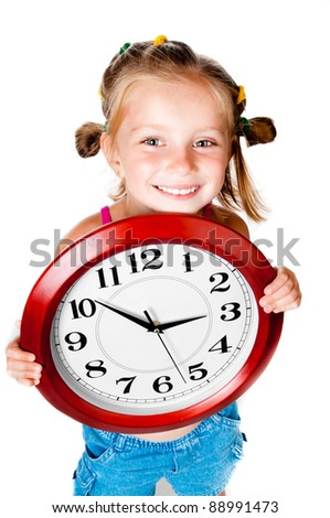 cute little girl with clock in hands