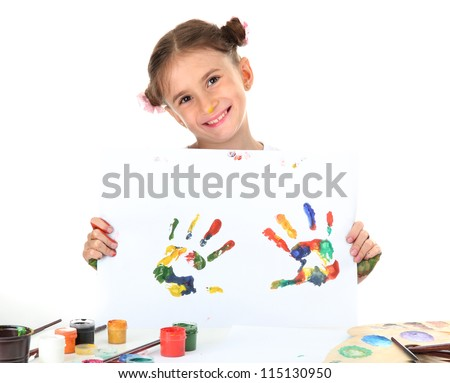 cute little girl with color hand prints, isolated on white