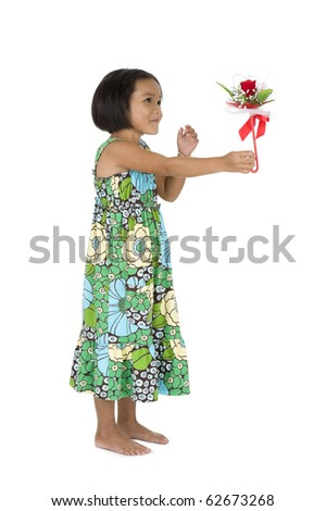 cute little girl with flower gift, isolated on white
