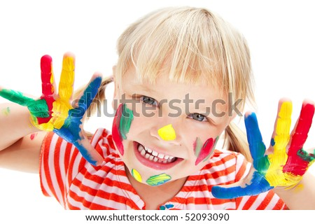 Cute little girl with painted hands. Isolated on white background. - stock photo