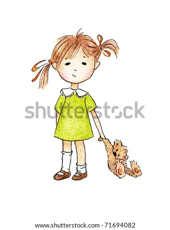 Cute little girl with teddy bear on white background - stock photo