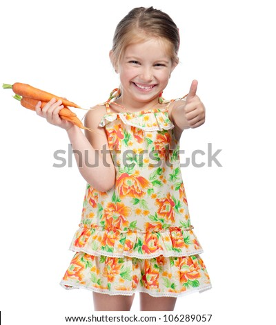 Cute little girl  with the carrot on a white background