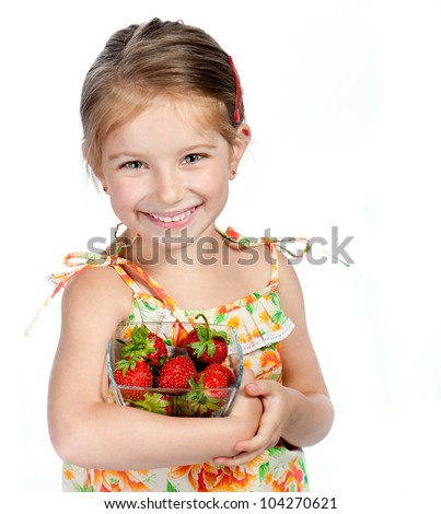 Cute little girl  with the  strawberry on a white background