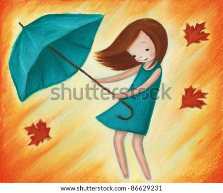 cute little girl with turquoise umbrella in the rain and wind
