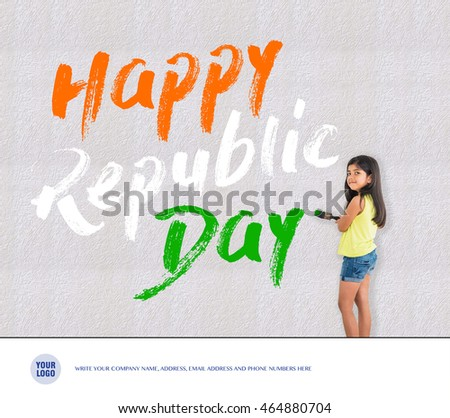 Free photos republic day of india greeting card india and republic cute little girl writing happy republic day with tricolour on wall with brush and m4hsunfo